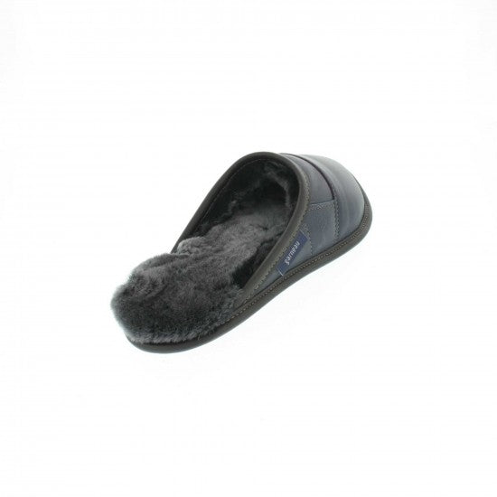 Garneau MULE slippers ALL USAGE IN CUIR 2 TONS Marine Mouton Silverfox for Men in Sheep - Coordinator's Shop