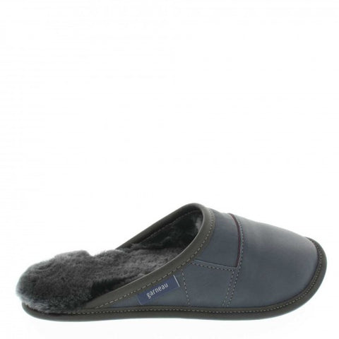 Garneau MULE ALL PURPOSE 2-TON LEATHER Slippers Navy Sheep Silverfox for Men in Sheep - Boutique du Cordonnier
