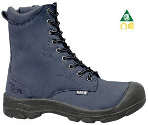 "Pilote & Filles S558 NAVY 8"" Women's Work Boots - Boutique du Cordonnier"