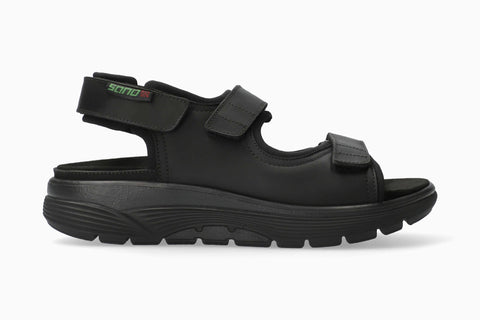 Sano WILFRIED Grizzly Black 100 by Mephisto Comfortable Men Sandals with Removable Footbed Rocker Soles - Boutique du Cordonnier