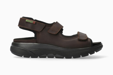 Sano WILFRIED Grizzly Dark Brown 151 by Mephisto Comfortable Men Sandals with Removable Footbed Rocker Soles - Boutique du Cordonnier