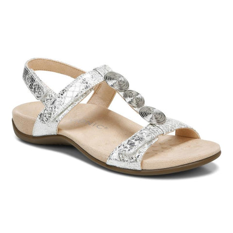 Vionic FARRA MET White Women's Sandals with arch support - Boutique du Cordonnier