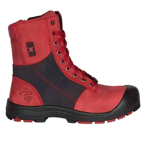"Pillote et Filles PF368 RED Women's 8"" Work Boots Protective Toe and CSA Steel Sole - Boutique du Cordonnier"