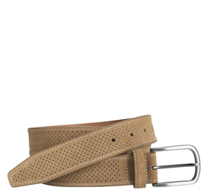 Johnston & Murphy PERFED SUEDE BELT 75-7354 Tan Ceinture - Boutique du Cordonnier