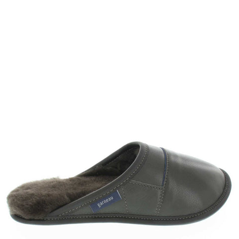 Garneau MULE slippers ALL USAGE IN CUIR 2 TONS Black Sheep Silverfox for Men in Sheep - Shoemaker Shop