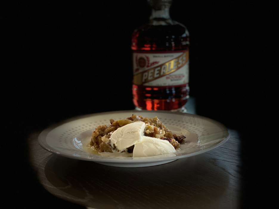 Smoked Browned Butter Apple Bourbon Crisp with Vanilla Ice Cream