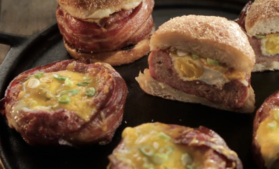 Breakfast Burgers Wrapped in Bacon with Eggs and Cheese