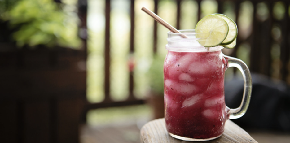 Blueberry Margarita Cocktail Drink with Lime
