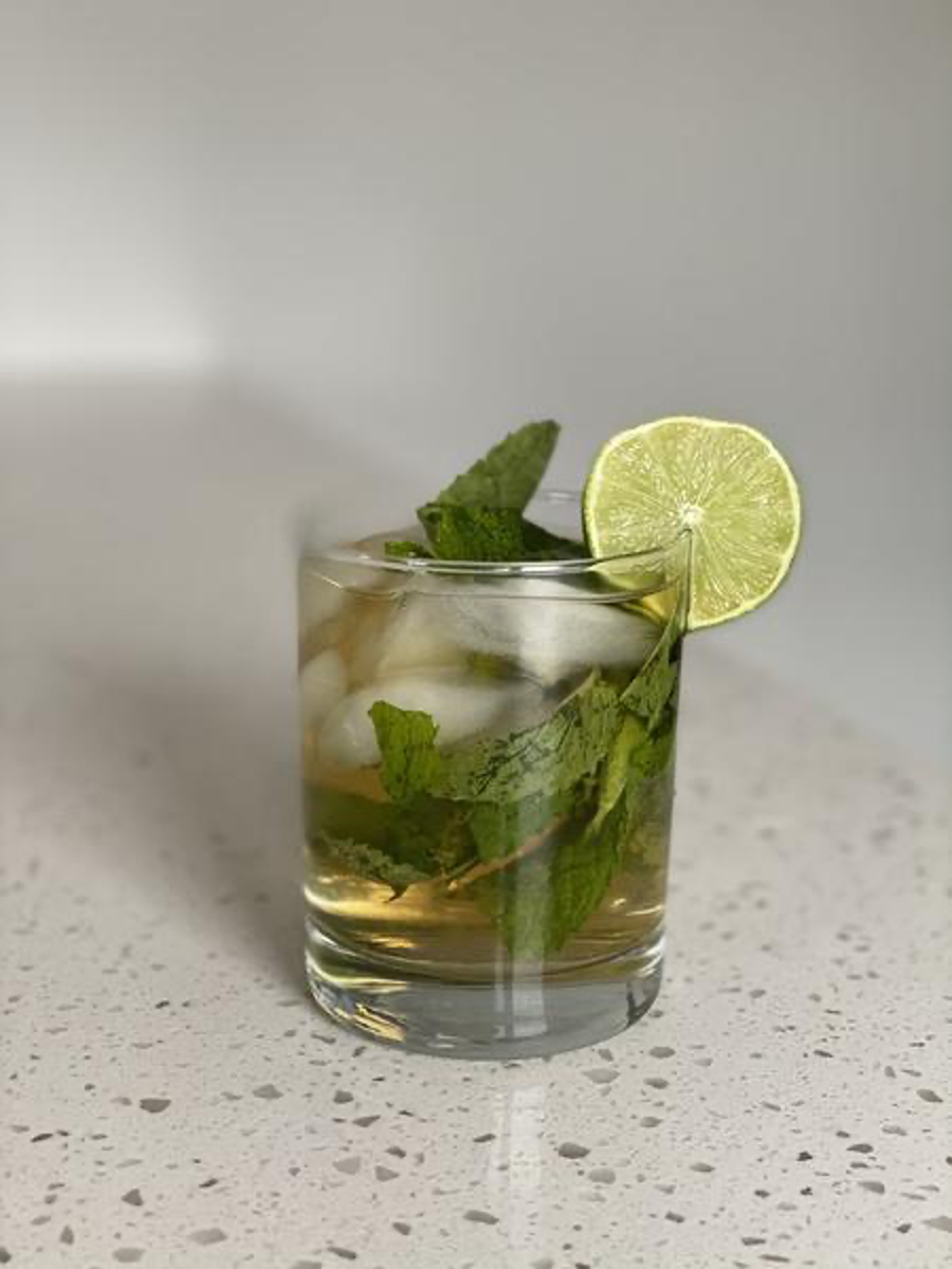 Brandy Smash Drink with Mint and Lime