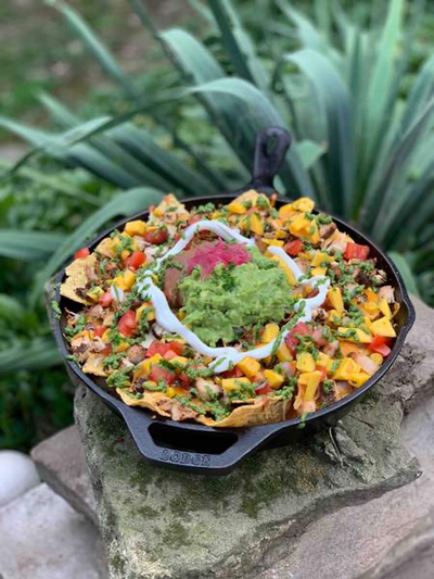 Cilantro Lime Chicken Nachos with Mango Salsa & Cilantro Pesto