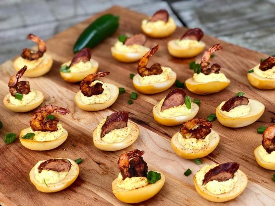 Keto Smoked Cajun Deviled Eggs Topped with Shrimp or Sausage