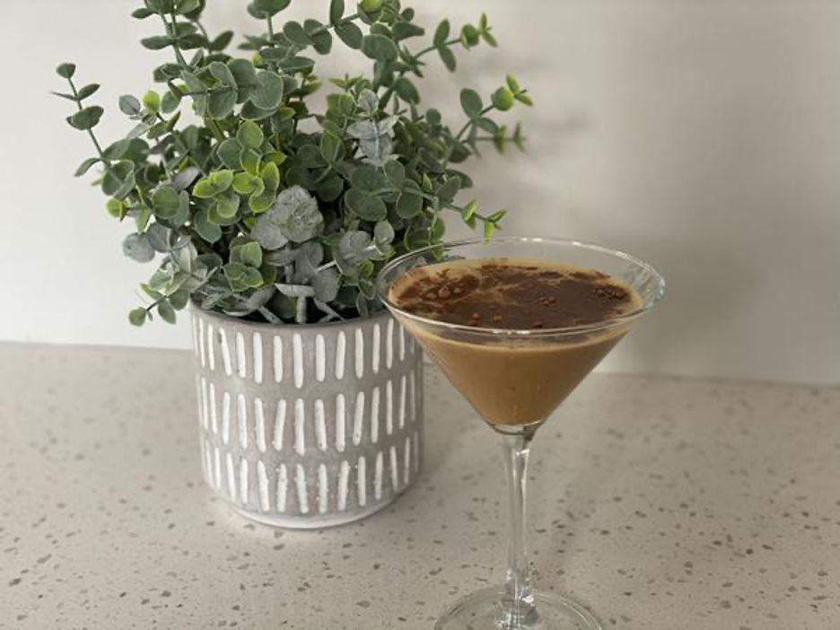 Mocha Martini with Plant in Background
