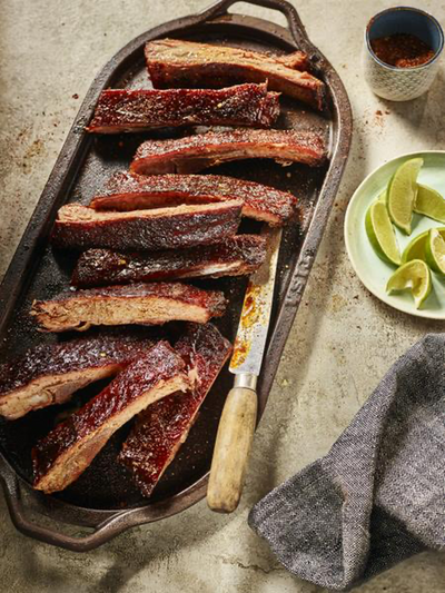 Pomegranate Glazed Pork Ribs with Smoked Chili Salt