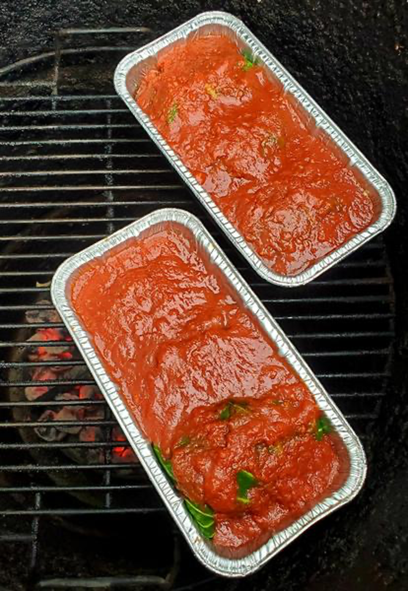 Two Pans of Stuffed Cabbage Smokin on Pit Barrel Cooker