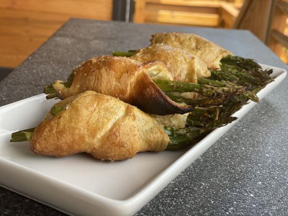 Puff Pastry Wrapped Asparagus on Platter