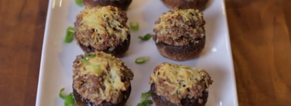 Grilled Mushrooms Stuffed with Sausage and Cheese