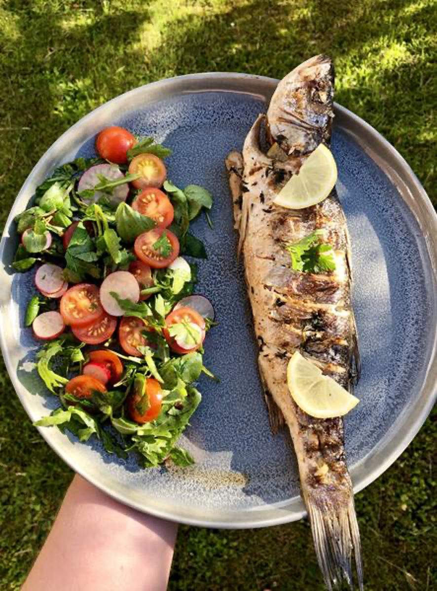 Whole Smoked Seabass with Lemon and a Side Spring Salad with Tomatoes