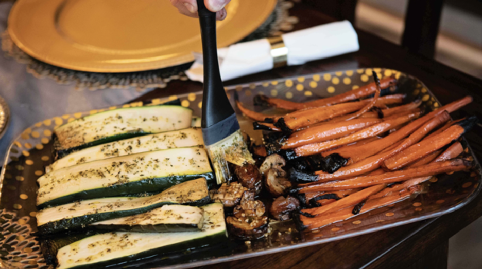 Smoked Zucchini, Mushrooms, and Carrots on Platter
