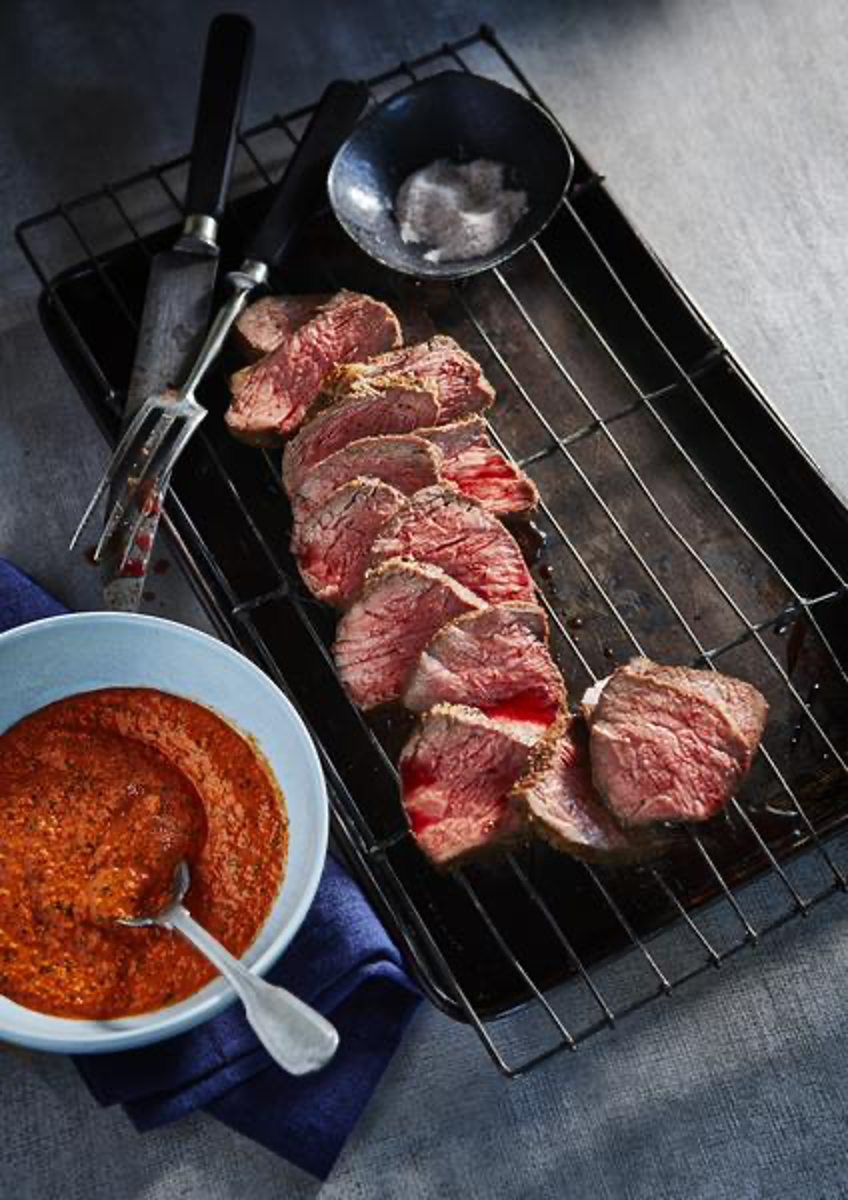 Tri-Tip Steak with Pit Barrel Beef and Game Rub and Romesco Sauce on Side