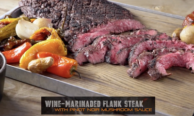 Wine Marinated Flank Steak with Bacon Mushroom Sauce