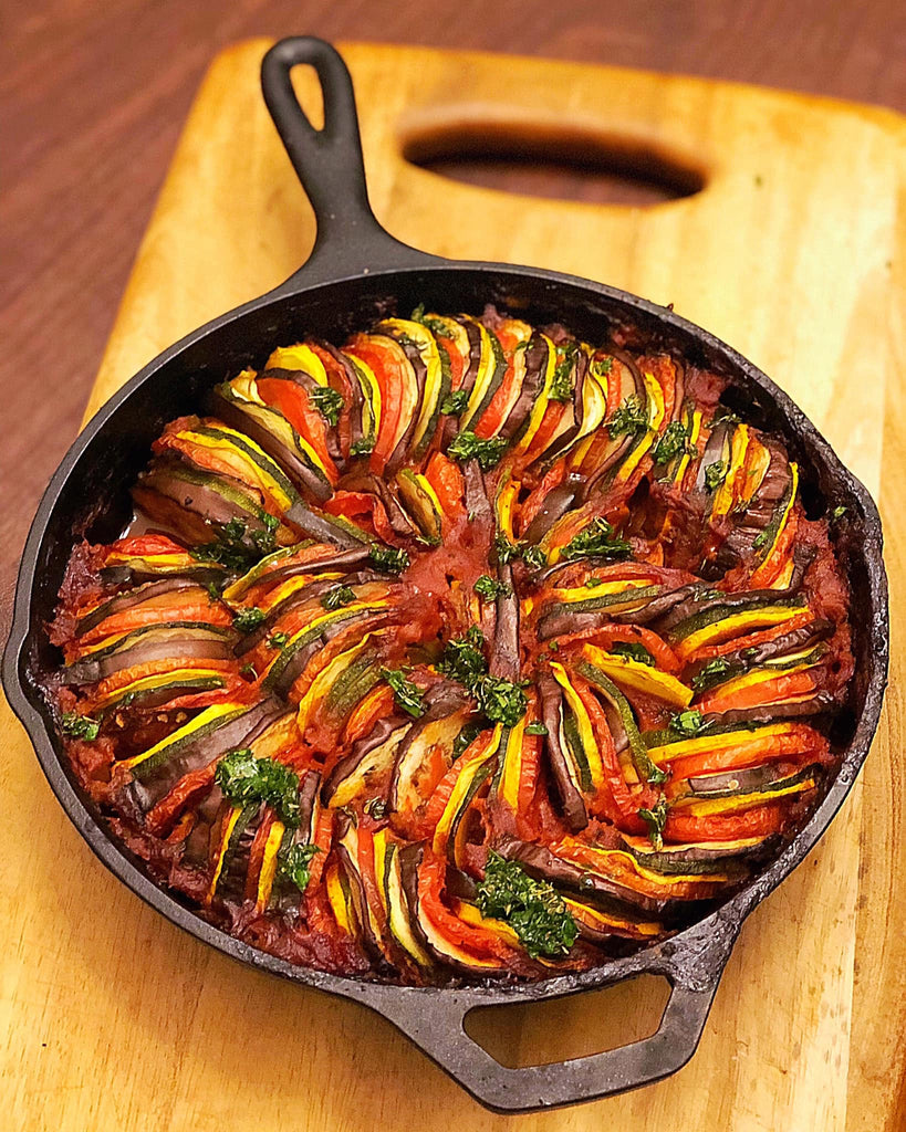 Cooked Pit Barrel Cooker Ratatouille in iron skillet