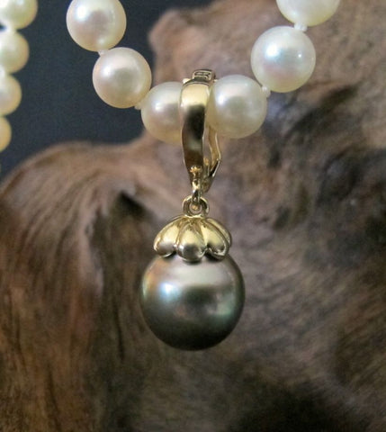 14K Gold Enhancer with Tahitian Pearl #PD21