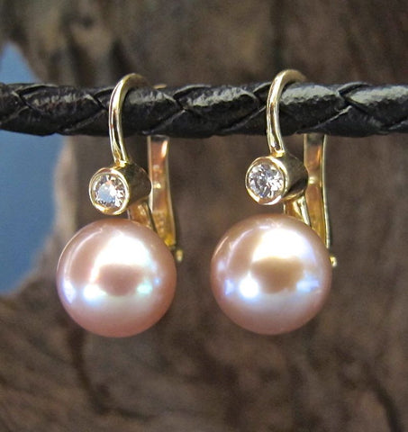 14K Gold, Natural Pink Fresh Water Pearl & Diamond Earrings #ER17