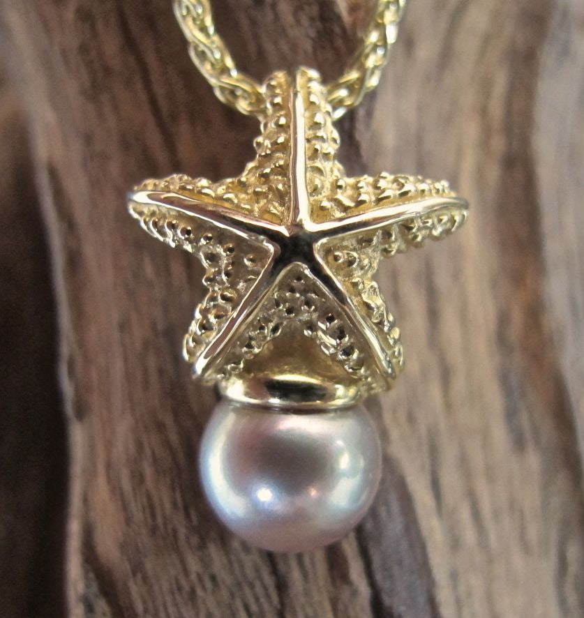 14K Gold Starfish Pearl Cap Pendant #212PC