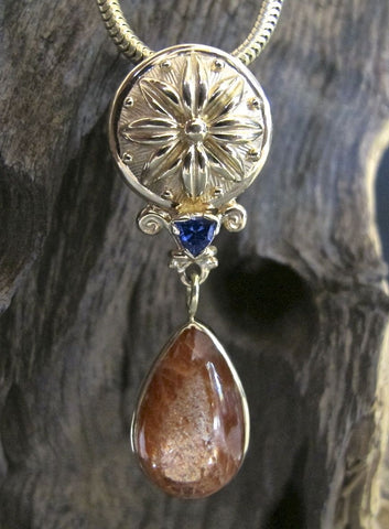 18K Gold Flower Dome Pendant with Oregon Sunstone & Sapphire #PD32