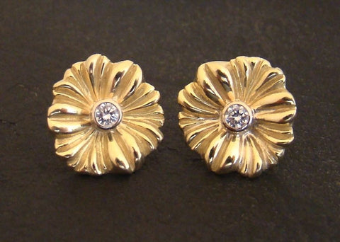 18K Gold Hibiscus Post Earrings with Diamonds #ER9