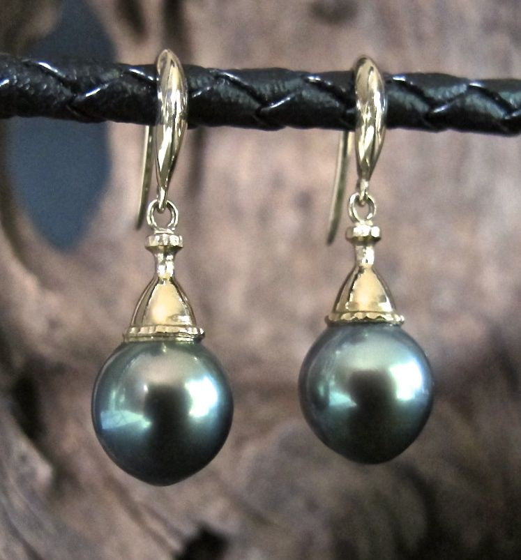 Blue Green Tahitian Pearl Earrings in 14K Gold #ER18