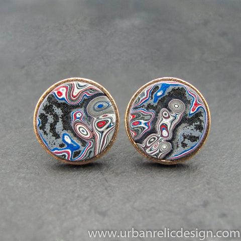 Bronze and Motor Agate Fordite Round Cufflinks #2104