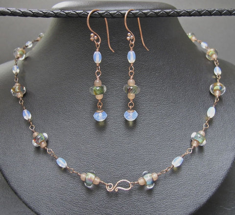 Copper & Boro Bead Necklace and Earring Set #1146