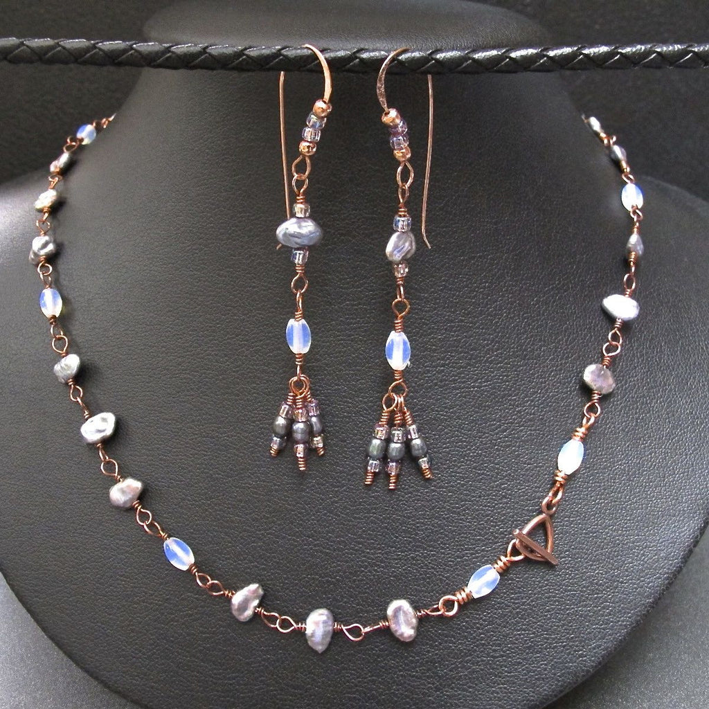 Copper & Fresh Water Pearl Necklace and Earring Set #1120