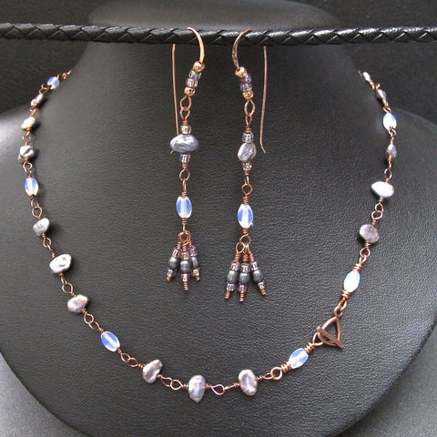 Copper & Keshi Pearl Necklace and Earring Set #1120