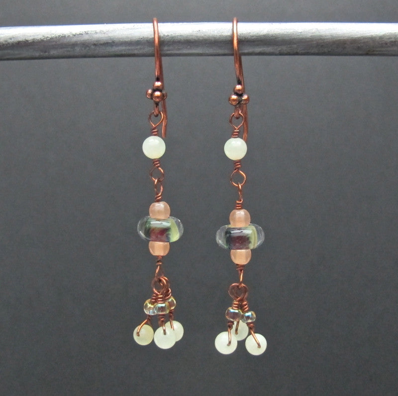 Copper & Glass Bead Earrings #1433