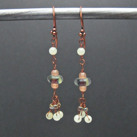 Copper & Boro Glass Bead Earrings #1433