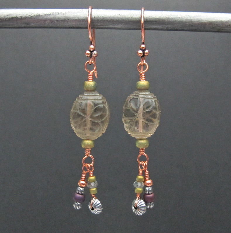 Copper & Glass Bead Earrings #1434
