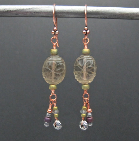 Copper & Carved Smokey Quartz Beaded Earrings #1434