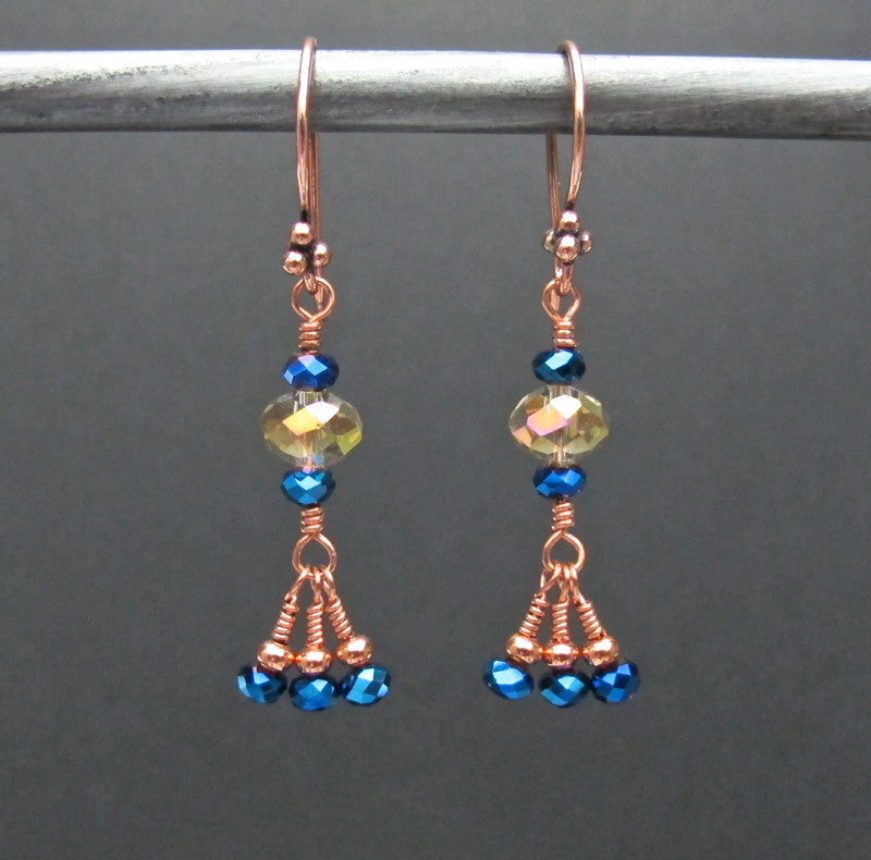 Copper & Glass Bead Earrings #1435