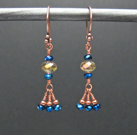 Copper & Crystal Bead Earrings #1435