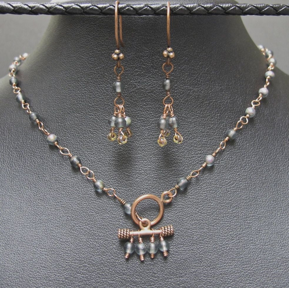 Copper & Grey Glass Bead Necklace and Earring Set #1147