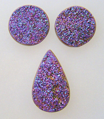 Druzanium Cabochon - 3pc Matched Set #1427