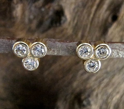 Diamond Cluster Post Earrings in 14K Gold #ER13