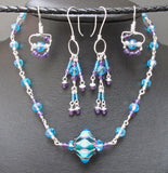 Sterling Silver, Boro Bead, Czech Glass and Amethyst Necklace and Earrings Set