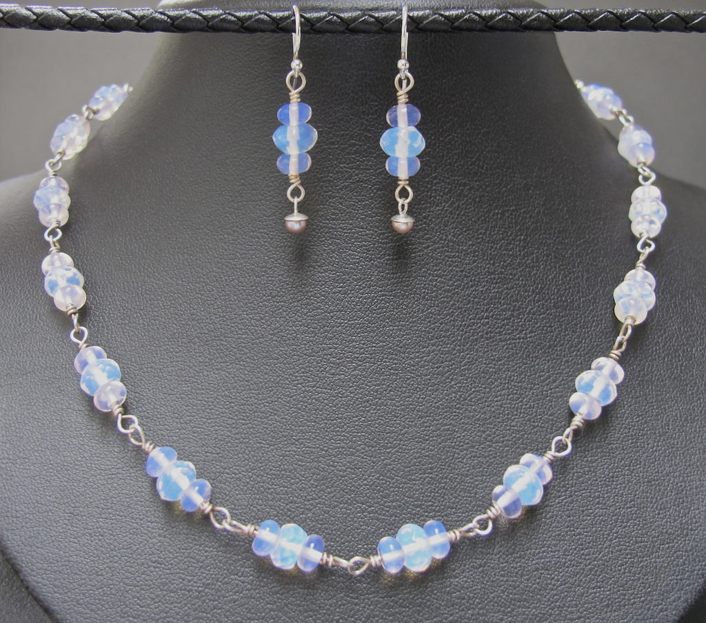 Sterling Silver and Czech Glass Necklace and Earring Set