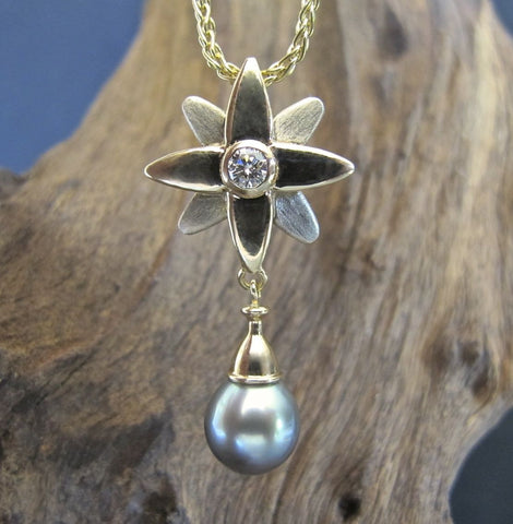 North Star Pendant - 14K White & Yellow Gold, Diamond, Tahitian Pearl #PD19