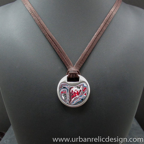 Stainless Steel and Motor Agate Fordite Necklace #2091