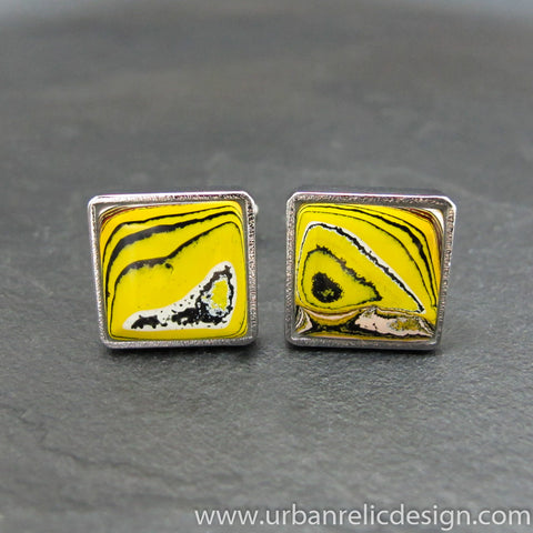 Stainless Steel & Powdercoat Fordite Cufflinks #2015