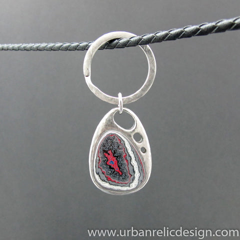 Stainless Steel and Motor Agate Fordite Key Ring #2161